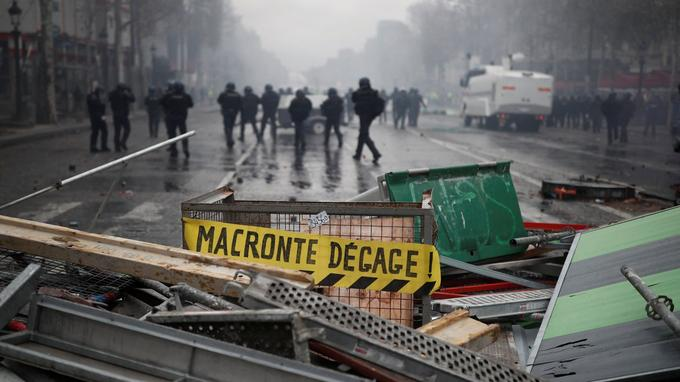 "A barricade is seen during a ""Yellow vest"" protest against higher fuel prices in Paris"